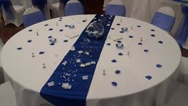 Wedding stuff 100 organza chir sahes 10 satin table runners glass fish bowls top table decor