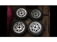 VW Beetle Classic model 4 stud 14 inch Alloys with Good tires, RARE -£120