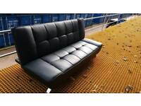 Black Leather Look Sofa Bed