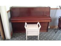 Calisia upright piano with stool, perfect condition