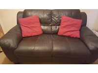 2 seater leather settee.