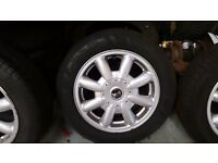 """Mini one, cooper, 15"""" Alloys and tyres set of 4 in good condition"""