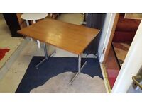Retro Wood Effect Kitchen Table with Chrome Legs in Good Condition