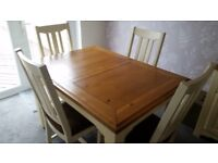 Beautiful Solid Country Oak Table and chairs with side unit
