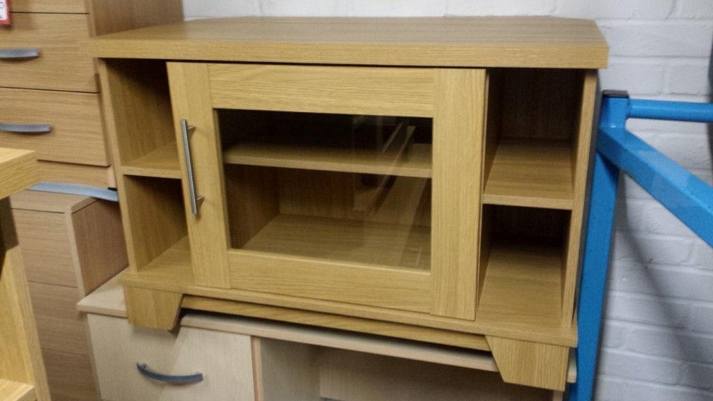 Oak Veneer Tv Stand Unit With Glass Door In Bedford Bedfordshire