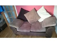 2 Seater Fabric Brown Arm Sofa Chair Suite