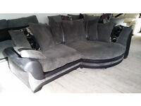 NEW Graded Black Leather and Grey Fabric Right Hand Corner Cuddle Sofa FREE LOCAL DELI