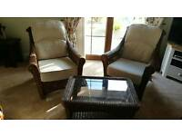 Brown Wicker conservatory set table chairs
