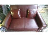two seater smart brown studio sofa