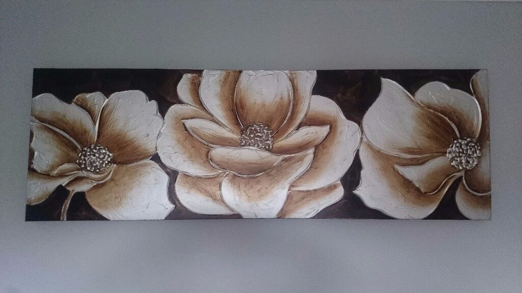 Brown Floral Poppies Canvas