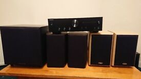 Stereo Audio Amplifier + 4 Speakers + Active Subwoofer