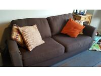 2 seater chocolate brown sofa bed