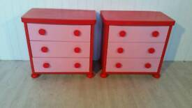 Pair of Pink and Red Chest of Drawers
