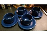 blue tea/coffee cup and saucer set of four