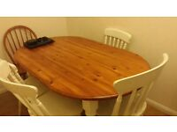 Large shabby chic dining table and 5 chairs