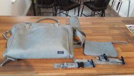 Isoki double zip satchel bag in eden sky blue
