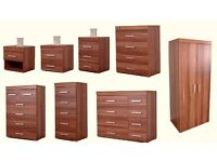 Bedroom Furniture Wardrobe Chest of Drawers & Bedside Table - Walnut Effect