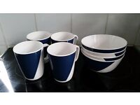 Blue and white melamine John Lewis picnic/ camping bowls and mugs - 4 of each