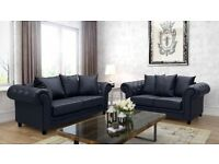 BRAND NEW - Chesterfield Suede Leather 3 and 2 Seaters Sofa Suite Settee Black Diamond Studded