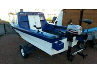 Dejon 14ft Fishing Boat - Mariner F4ML Outboard Engine - Electric Engine plus Accessories