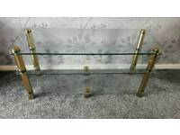 Tv Stand - Large glass . Gold feet
