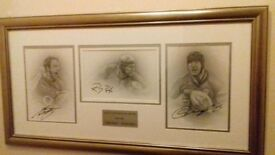 Signed portraits of Ulster and Ireland rugby grand slam winning heroes