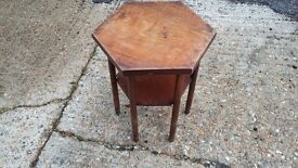 Vintage Hardwood Hexagonal Side Table