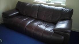 Brown leather 3 sweater couches ONO