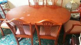 Beautiful dining table and chairs in need of some tlc