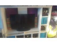 White Wooden Tv Stand + Shelves