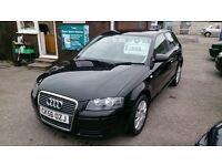 2006 (56) AUDI 1.6 A3 3 DOOR HATCH IN BLACK MOTD TILL AUG 2017 DONE 113K WITH S/H ALLOYS CD EW R/C/L