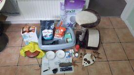 Loads of cat stuff, cat scratcher lit tray food mat and bowls toys food etc
