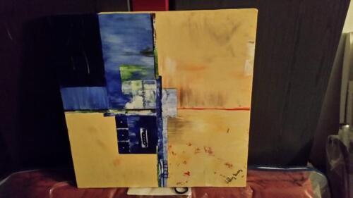 Moderne Kunst Bilder Auf Leinwand ~ Künstler a berg leinwand bild blau beige gelb moderne kunst in