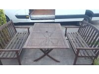 WOODEN GARDEN TABLE AND 2 BENCHES