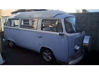 Classic VW Bay window camper van (1973 crossover)