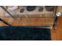 Tv stand clear glass large