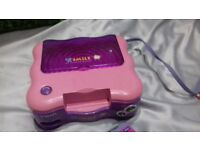 GIRLS PINK & PURPLE VTECH VSMILE COMPUTER WITH CONTROLLER & 5 GAMES FOR TODDLERS CHILDRENS KIDS VGC