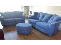 Beautiful three seater, two seater and puffet in excellent condition. Delivery can be arranged