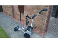 Electric golf trolley with battery and battery charger