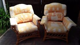 Pair Bamboo Cane Conservatory Chairs & Cushions