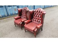 Two Antique Chesterfield Armchair Queen Anne High Back Wing Chairs