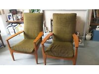 parker knoll 988 2 chairs stylish 1960s classic chairs in original condition