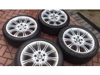 GENUINE BMW MV2 18 WHEELS WITH VERY GOOD TYRES FOR 3 SERIES