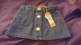 Baby girl new river island denim skirt