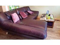 Leather corner sofa .