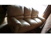 FREE 3 seater recliner 100% Italian leather in cream.no delivery available