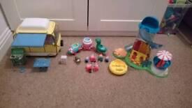 Peppa pig toy bundle inc house, fair and campervan