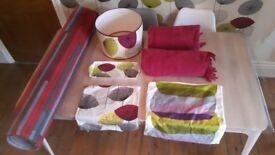 Bundle-2 x cushion covers/2 x throws/1 x lamp shade/1 x sandwich tray (Sanderson Dandelion Clocks)