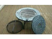 Fire pit table with BBQ grill.