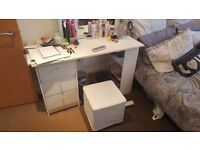 White Desk/Dressing Table w/ 3 drawers and shelves, and matching Bedside Table w/ 1 drawer